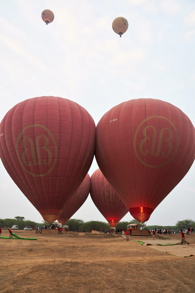 Balloons over Bagan ready for take off
