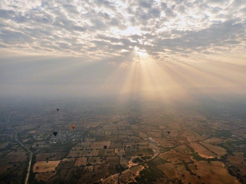 Sunrise in Bagan from a hot air balloon