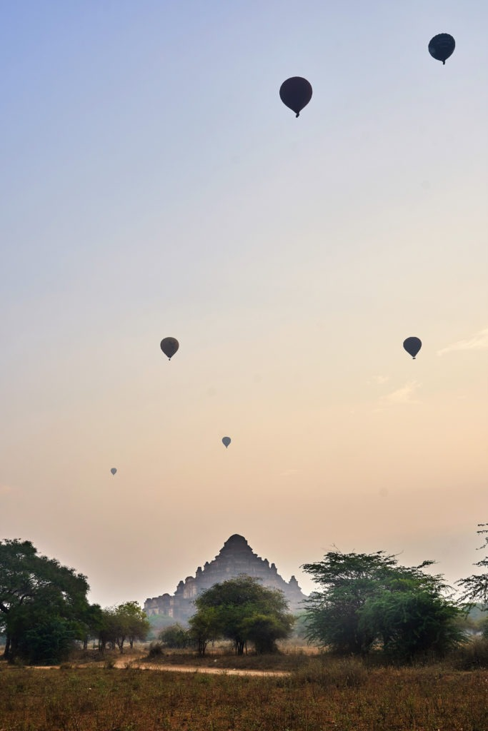 Hot air balloons up in the air in Bagan