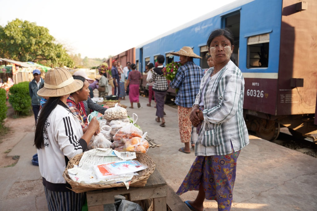 Train station market Myanmar