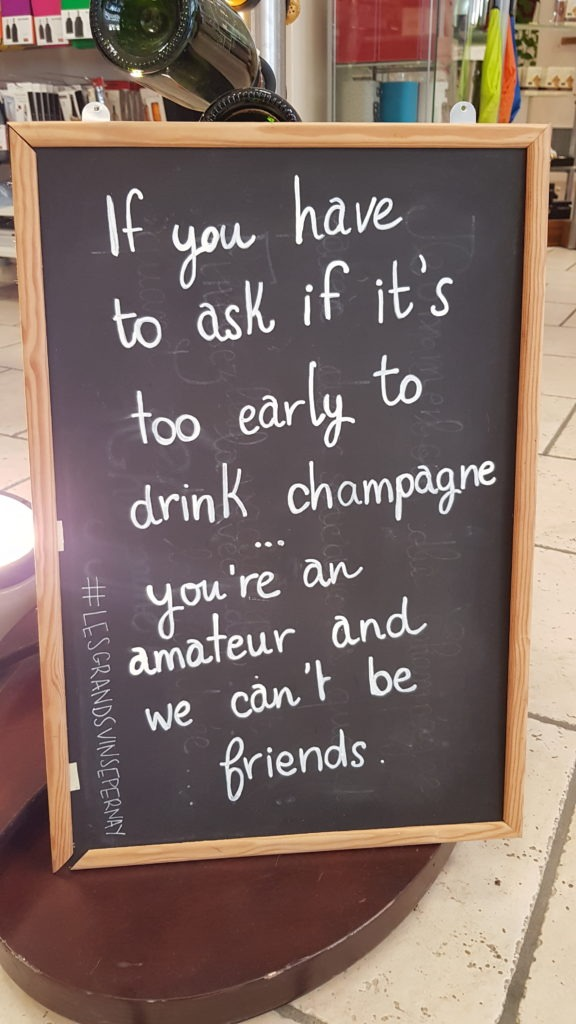 Sign outside champagne store