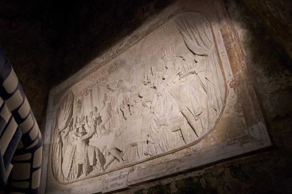 Wall art inside the Pommery cellars