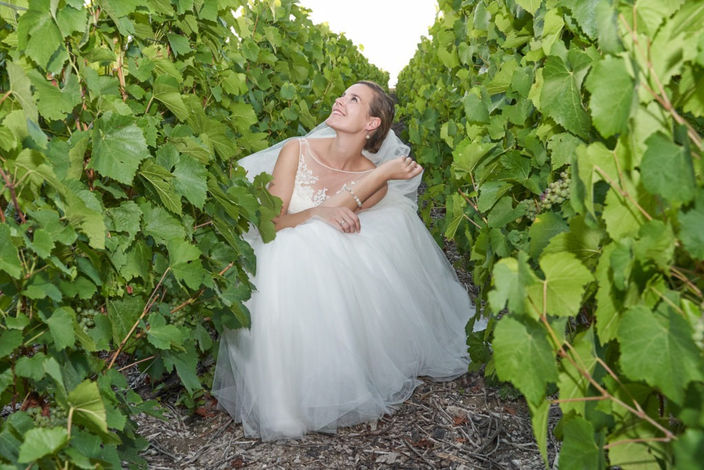 Wedding dress in the vineyard