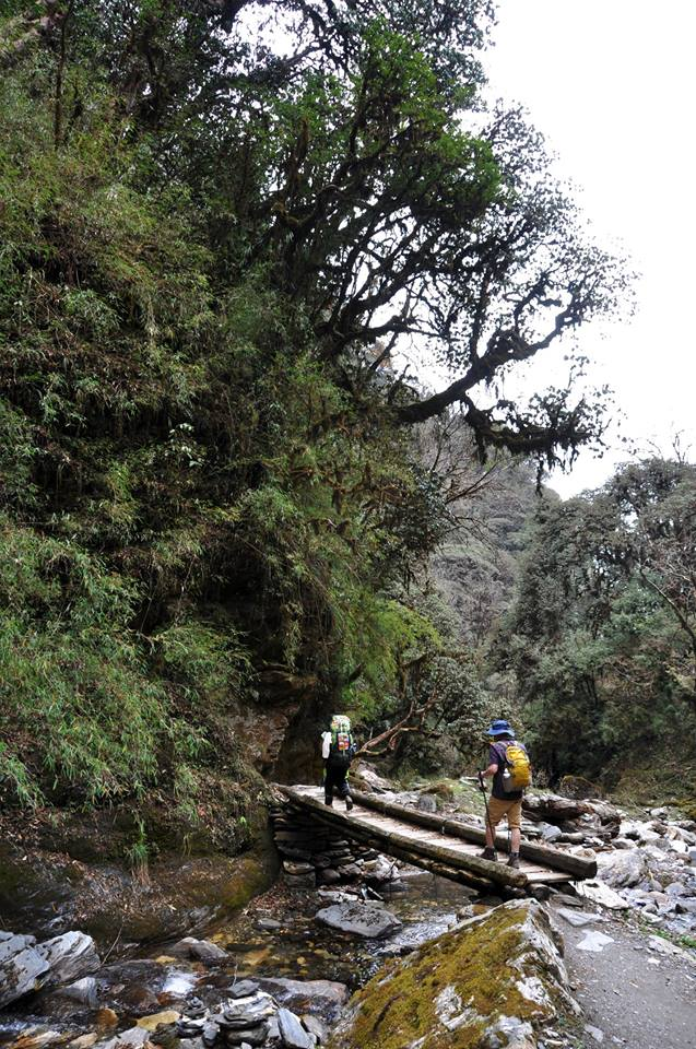 Crossing a river on the Poon Hill trek