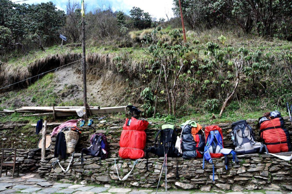 Backpacks on the Poon Hill trek