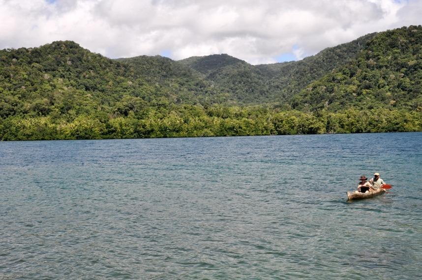 Canoeing in Marovo Lagoon, Solomon Islands