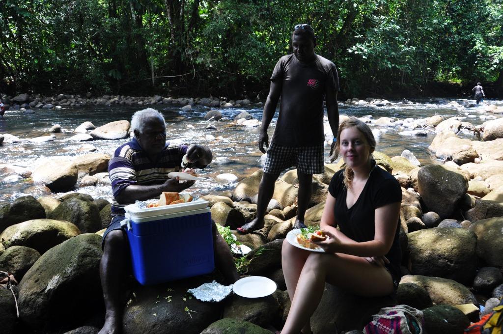 Picnic lunch at Marovo Lagoon river